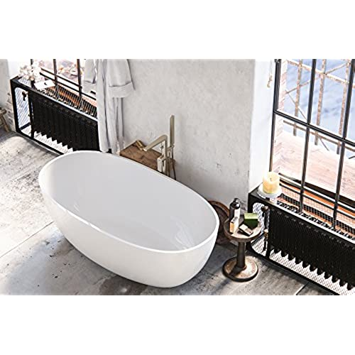 maykke barnet 61 inches modern oval light acrylic bathtub easy to install white soaker tubs for bathroom cupc certified xda1407001