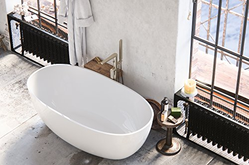 MAYKKE Barnet 61 Inches Modern Oval Light Acrylic Bathtub Easy to Install Freestanding White Soaker Tubs for Bathroom cUPC certified, XDA1407001 (Soaker Freestanding Collection Tub)