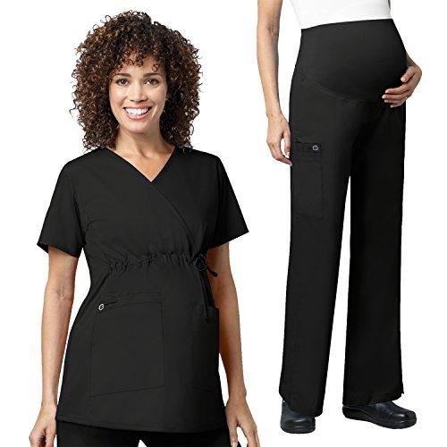 WonderWork Maternity Mock Wrap Scrub Tops &Women's Maternity Cargo Pant set [XS - 3XL]+ FREE GIFT