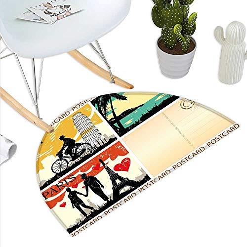Retro Half Round Door mats Postcards from Italy Hawaii Paris Exotic Places in The World Nostalgic Times Print Bathroom Mat H 31.5