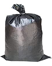 """Empty Poly Sandbags W/UV Protection Size: 14"""" x 26"""" - Color: Black - Military Grade with Ties (20 Bags)"""
