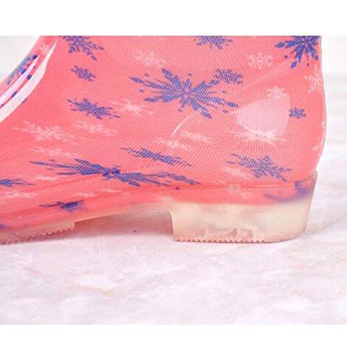 hibote Frauen Regen Stiefel Weiblich Original Tall Warmwasser Lady Schuhe Antiskid Gummigaloschen Pinke Blume 40EU