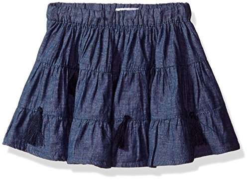 Mud Pie Baby Girls' Toddler Chambray Denim Tassel Skirt, Blue, LG/ 4T-5T (Skirt Denim 4t)