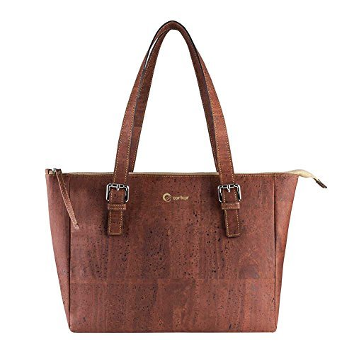 Cork Purse Vegan Handbag Satchel Women Top Handle Peta Approved Natural Red Color