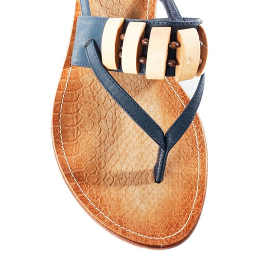 Bumper Tyler-01 Kralen String Sandalen Blauw