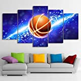 Themed Canvas Wall Art Canvas Art Abstract Fire Lightning basketball Sport Basket Goal Painting Wall Pictures For Boys Room Baby Nursery D¨¦cor Kids Room Basketball Boys Gift