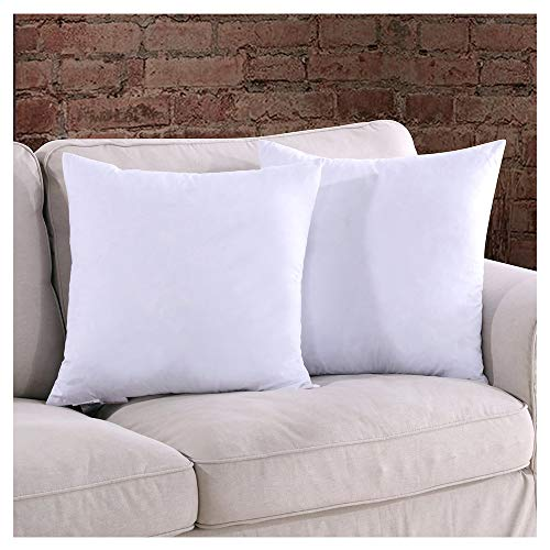 (Homelike Moment 18x18 Feather Down Pillow Inserts - Square Couch Throw Pillow Insert Set of 2 18 x 18 100% Cotton Fabric)
