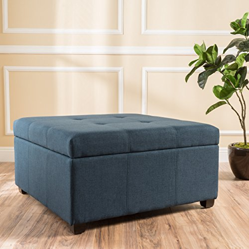 "Christopher Knight Home 299392 Living Carlyle Dark Blue Fabric Storage Ottoman D x 35.00""W x 18.50""H For Sale"