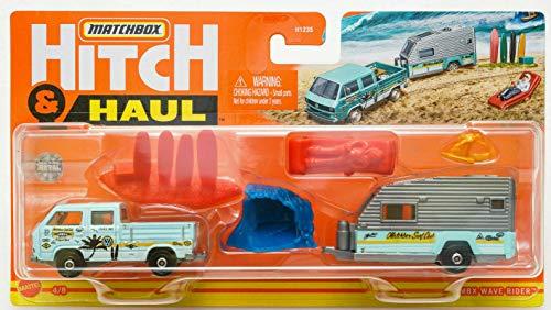 MATCHBOX HITCH&HAUL MBX WAVE RIDER4 | 8-VOLKS TRANSPORTER CAB TRAVEL TRAILER II(SEA BLUE) 의자 서핑 보드 서퍼 웨이브