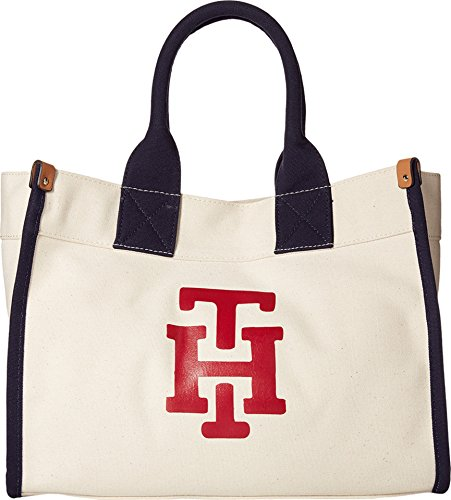 Tommy Hilfiger Women's Canvas TH Print Medium Tote Natural/Red Handbag