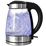 Charles Bentley 3Kw Illuminating LED Glass Kettle 1.7 L Cordless Clear Glass 360 Degree Base - Free 2 Year Warranty