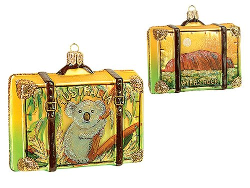 Pinnacle Peak Trading Company Australia Travel Suitcase Polish Blown Glass Christmas Ornament ONE Decoration