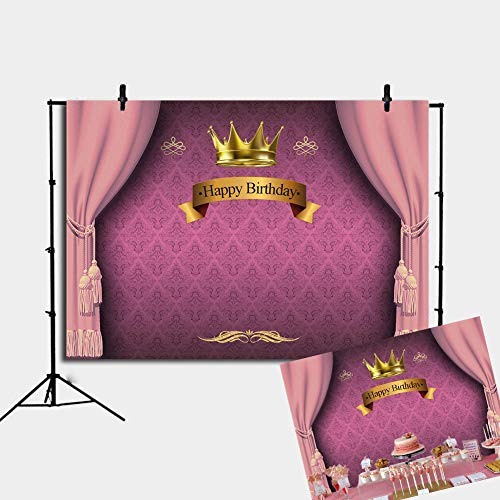 Royal Pink Princess Happy Birthday Backdrop Golden Crown Pink Curtain Background Decoration 7x5FT -