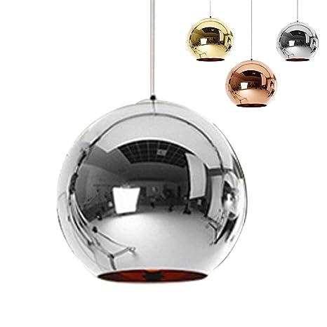 ✨Industrial espejo moderno bola colgante Lámpara de cristal, espejo ajustable bola colgante Ligh, cortina de lámpara de techo para cocina, comedor, ...
