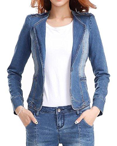 Fundu Women's Slim Fitting Lapel Denim Blazer Jacket Blue Without Hood US (Denim Womens Blazer)