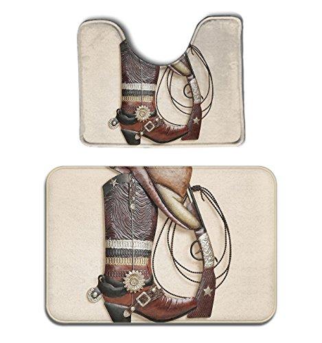 (JACINTAN Memory Foam 2 piece bathroom rug set - Cowboy Boots Hat Gun Patterned - Skidproof bath Mat And Toilet Seat Contour Cover rug)