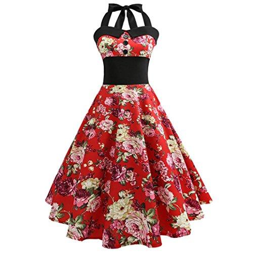 Elogoog Women's Vintage Floral Print Halter Rockabilly Retro Cocktail Swing Dress (Red (Floral), ()
