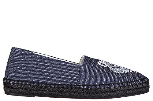 Kenzo-Womens-Cotton-Espadrilles-Slip-On-Shoes-Tiger-Blu