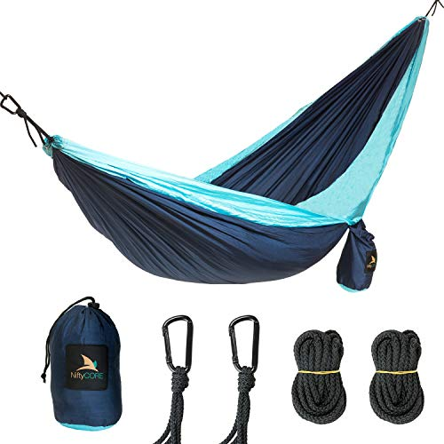 NiftyCORE Premium Camping Hammock Portable Lightweight Heavy-Duty Parachute Nylon for Easy Outdoor Tree Hanging, Backpacking, Travel, Beach, Yard Storage Bag, Carabiners, Rope Included