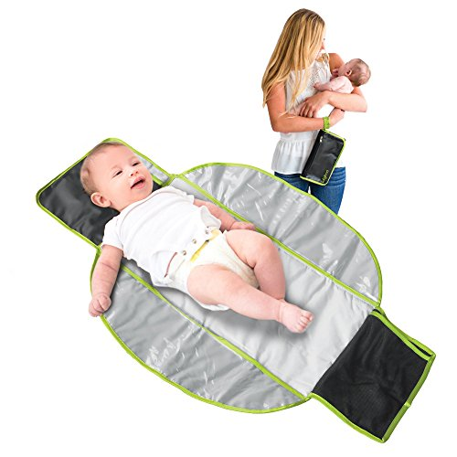 LulyBoo Baby Changing Kit – Waterproof Compact Travel Mat With Storage Pockets Folds Into Convenient Clutch – For On The Go Diaper Changing Station Pad – Black