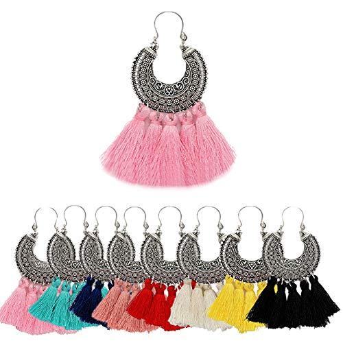 AMCHIC Fan Shape Bohemian Statement Silky Tassel Fashion Earrings for Women Dangling,Thread Fringe with Vintage Ethnic Pattern Metal Drop Pendant Earrings,Ladies' Gift,Pink