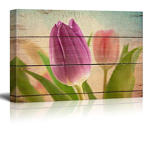 Closeup of Lavender Tulip Rustic Floral Arrangements Pastels Colorful Beautiful Wood Grain Antique