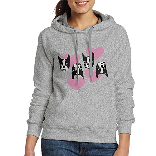 LODF FITE Puppy Love hearts Charcoal Boston Terrier Women Long Sleeve Drawstring Sweatshirt Pullover Hoodie Sweatshirts (Mens Love Hoodie Puppy)