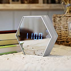 lovehouse Digital alarm clock, Wake up clock,Led night light clock mirror, Time temperature display touch control usb charging electronic alarm clock for bedroom heavy sleepers -white