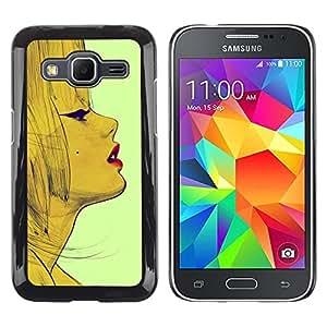 LECELL--Funda protectora / Cubierta / Piel For Samsung Galaxy Core Prime SM-G360 -- Vintage Fashion Woman Lips Face --