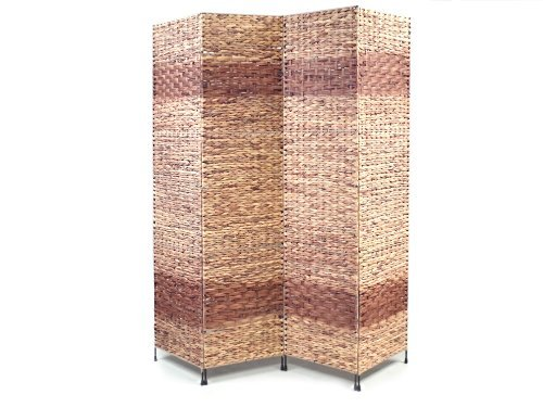 Proman Products Jakarta-B Folding Screen Metal Frame w/ Water Hyacinth Inserts Natural Color with Espresso Bands 4 panels, 60