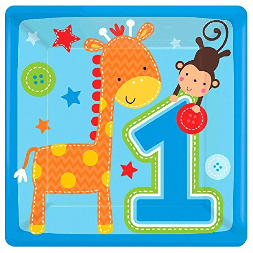- One Wild Boy Birthday Party Square Dessert Plates Tableware, Multi Colored, Paper, 7