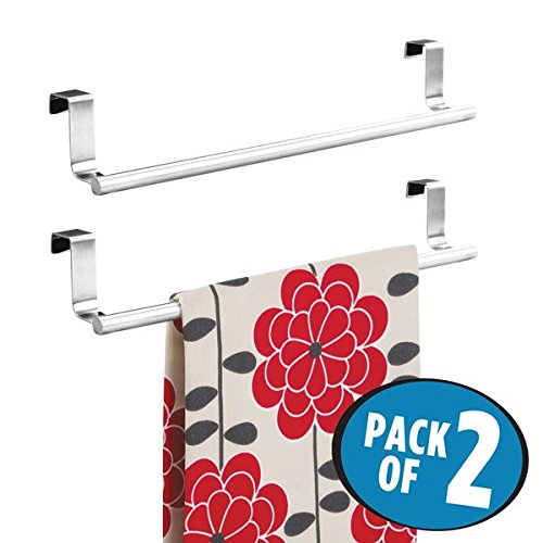 mDesign Decorative Kitchen Over Cabinet Towel Bar - Hang on Inside or Outside of Doors, Storage and Display Rack for Hand, Dish, and Tea Towels - 14'' Wide, Pack of 2, Brushed Stainless Steel by mDesign