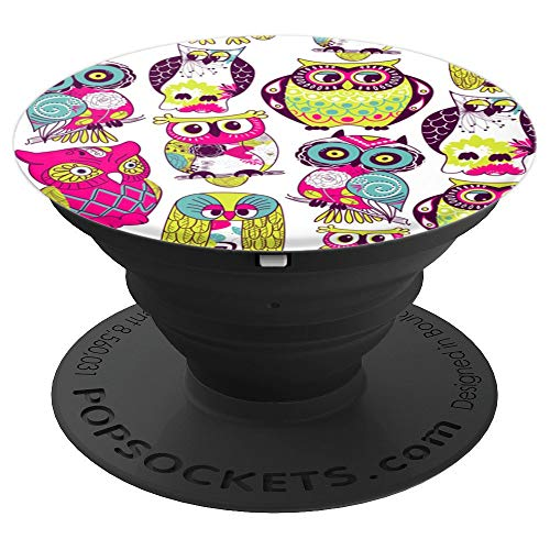 Owl Pattern Colorful Retro Night Bird Predator - PopSockets Grip and Stand for Phones and -