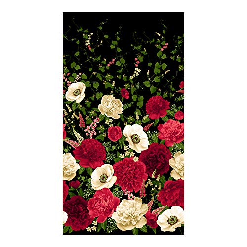 (Timeless Treasures Carina 24'' Peony & Anemone Panel Fabric, Black)
