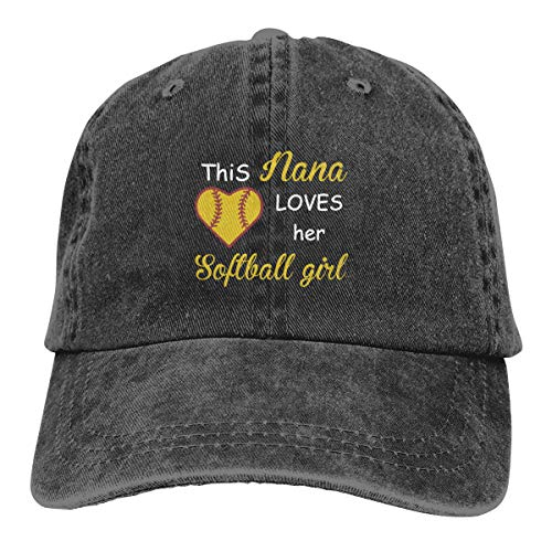 This Nana Loves Her Softball Girl Classic Denim Caps Baseball Hats Unisex