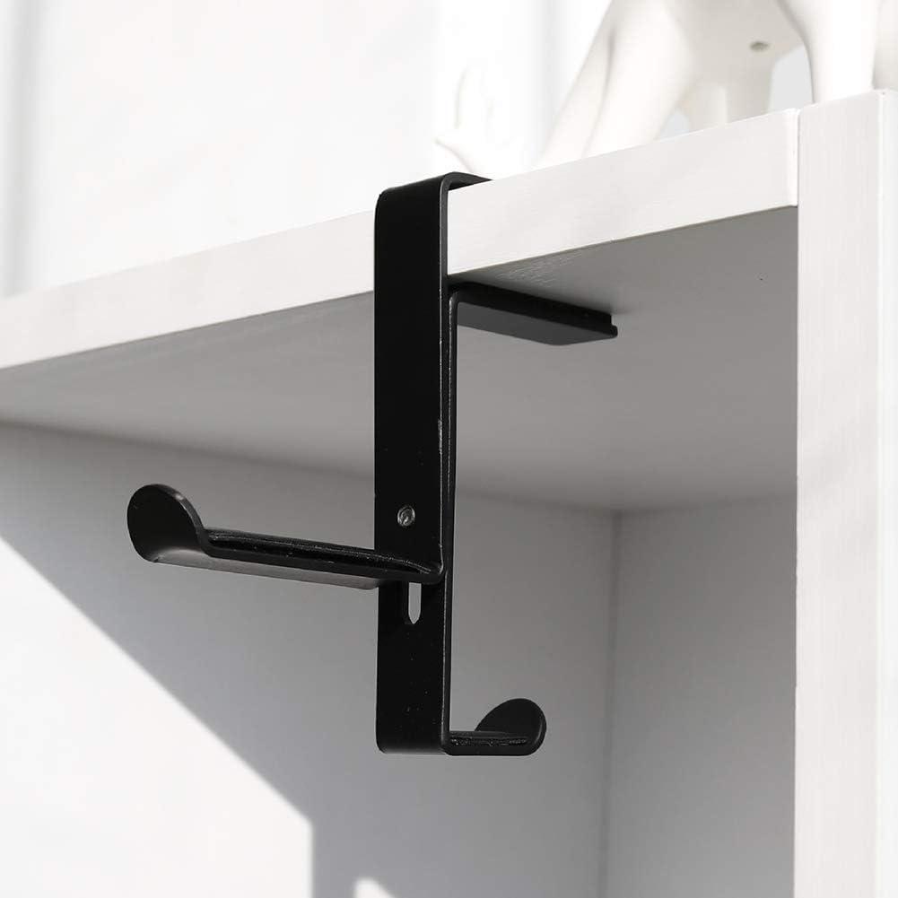 PC Gaming Headset Headphone Hook Holder Hanger Mount Metal Under Desk Dual Headphone Hanger Headphones Stand with Adjustable Clamp Black Universal Fit
