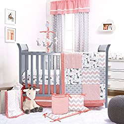 Uptown Girl Giraffe Patchwork 5 Piece Baby Crib Bedding Set by The Peanut Shell Pink and Grey
