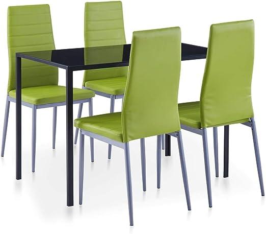 vidaXL - Juego de Mesa (5 Piezas) Multistore 2002 - Juego de Mesa y 4 sillas para Comedor, Color Verde: Amazon.es: Juguetes y juegos