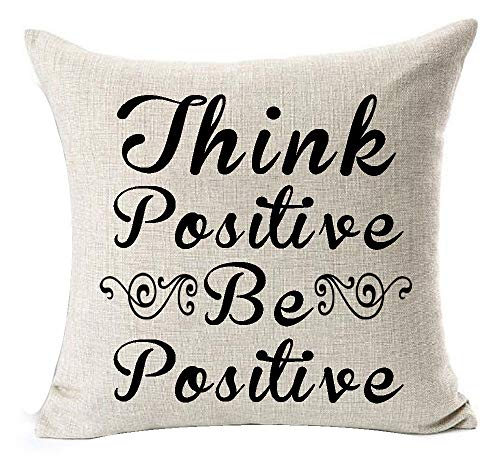 Arthuryerkes Nordic Simple Sweet Funny Inspirational Sayings Quotes Think Positive Be Positive Cotton Linen Throw Pillow Case Cushion Cover New Home Decorative Square 18X18 Inches