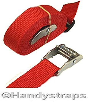 Med Luggage Trailer tie down CAM BUCKLES CAR Roof Rack straps Red 2 x 25mm 2.5 meter