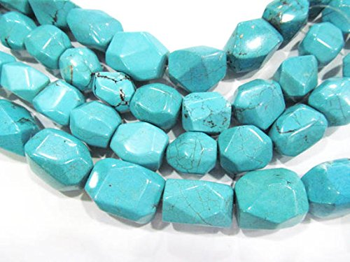 A+ 13X18mm Natural Turquoise Gemstone blue Nuggets Freeform Faceted Turquoise Beads Connector necklace