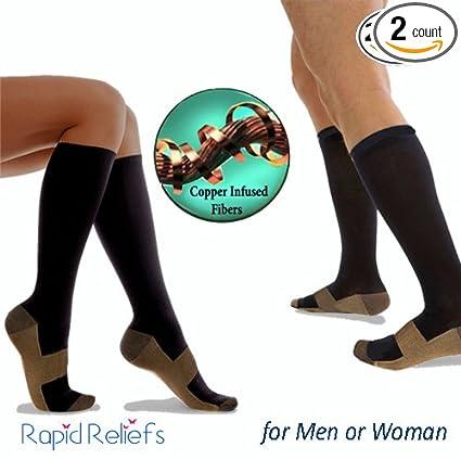 a08f9e534d Copper Socks, Infused Copper Compression Socks 15-20 mmHg Miracle Pain  Relief Anti Fatigue