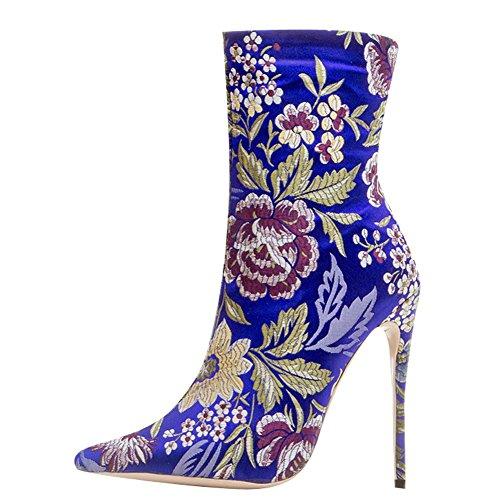 Mehrfarbig Damen Mee Reißverschluss Blau Stiletto Shoes Stiefel FtUwqHU