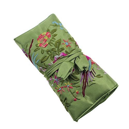 Gracallet® Light Green Soft Silk Embroidery Brocade Peony Floral Print Fabric Jewelry Roll Travel Organizer ()