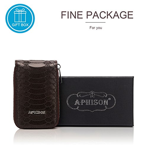 Case for Leather Box Card Gift Wallet Organizer Coffee Wallet Pocket Minimalist Ladies Women Red RFID Credit Holder APHISONUK Compact Blocking wA61xqAY