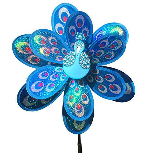 (Jesse Peacock Wind Spinner Sequins Double Layers 3D Colorful Funny Windmill for Yard Garden Blue)
