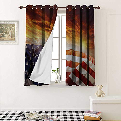 (shenglv American Flag Waterproof Window Curtain Flag in Front of Sunset Sky with Horizon America Union Idyllic Photograph Curtains Living Room W55 x L45 Inch Multicolor )