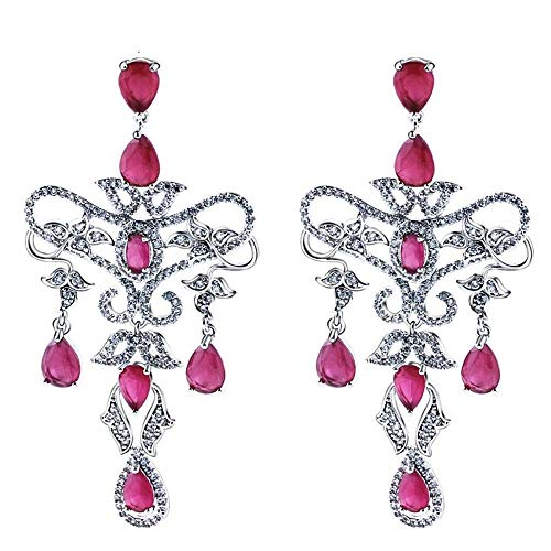 (QMM earring Pendant earrings sVintage Flower Tear Drop Earrings for Women Red and White Cz Crystals Rhodium Color Jewelry Bijouterie)