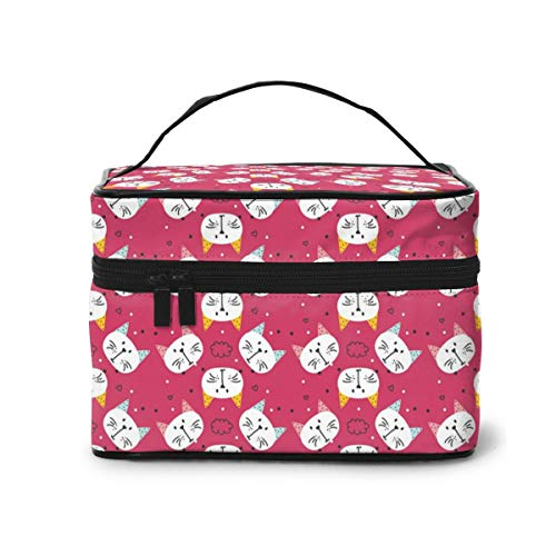 Makeup Bag Art Pink Cat Face Travel Toiletry BOX Portable Organizer Handy Storage Cosmetic Train Case For Women Girls
