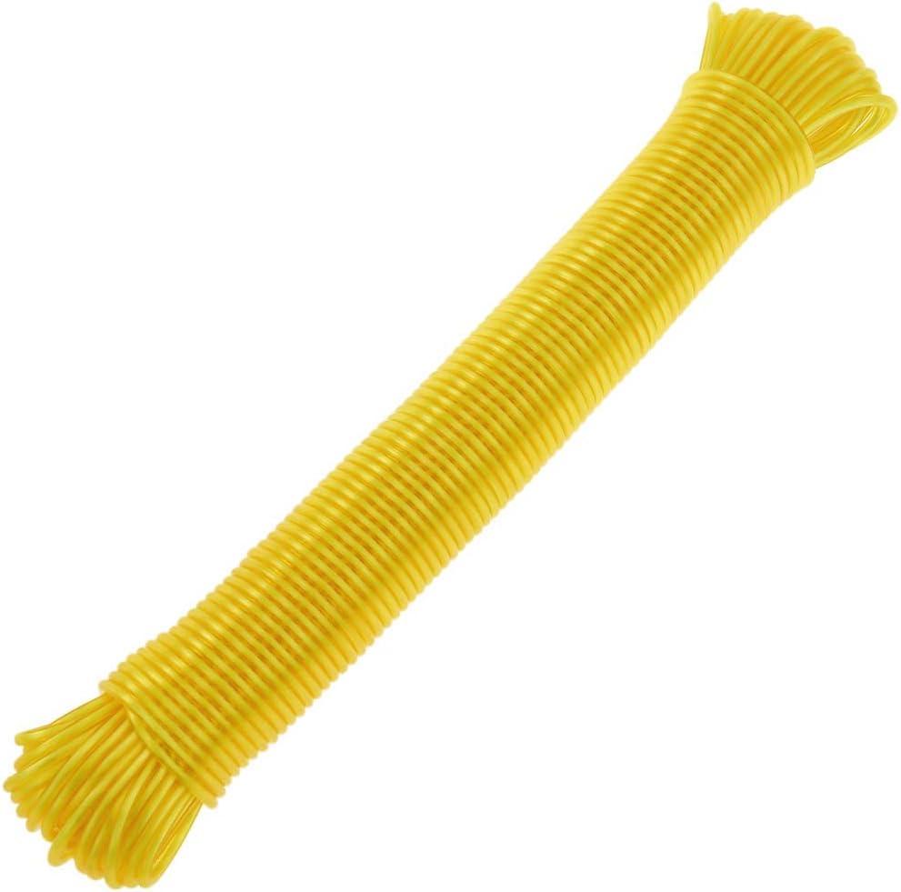 Cuerda de tendedero de PVC con n/úcleo de Polipropileno 30 m x 3 mm Amarilla PrimeMatik